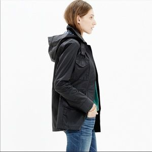 Madewell | Coated Roadtrip Jacket Black Hood Plaid